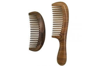 ERZA SCARLET Wide Tooth Comb Natural Green Sandalwood Wooden Comb/Beard Pick Comb and Long Hair Comb For Women
