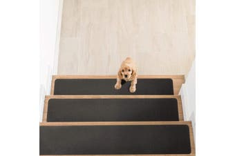 (14pc, Gray) - Delxo Non Slip Carpet Stair Treads, Set of 14,Rug Non Skid Runner for Grip and Beauty. Safety Slip Resistant for Kids, Elders, and Dogs,Pre Applied Adhesive .15cm x 80cm (Grey)