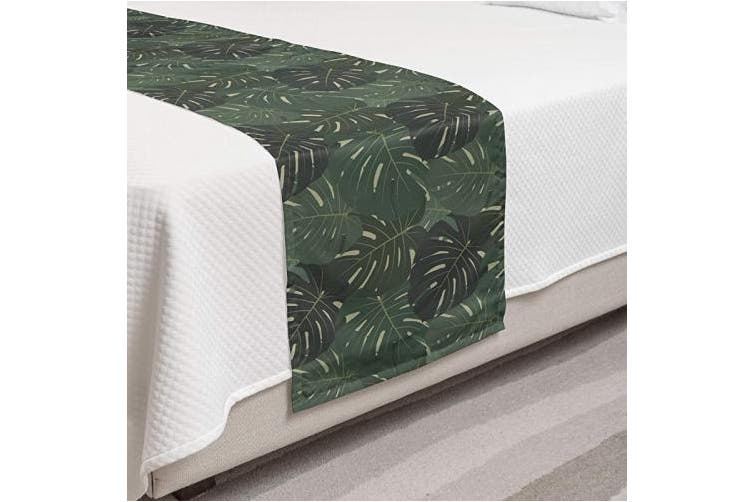 (King, Grey Green) - Ambesonne Tropical Bed Runner Set, Exotic Pattern of Monstera Leaves Hawaiian Plantation, Decorative Bedding Scarf and 2 Pillow Shams for Hotels Homes, King, Grey Green