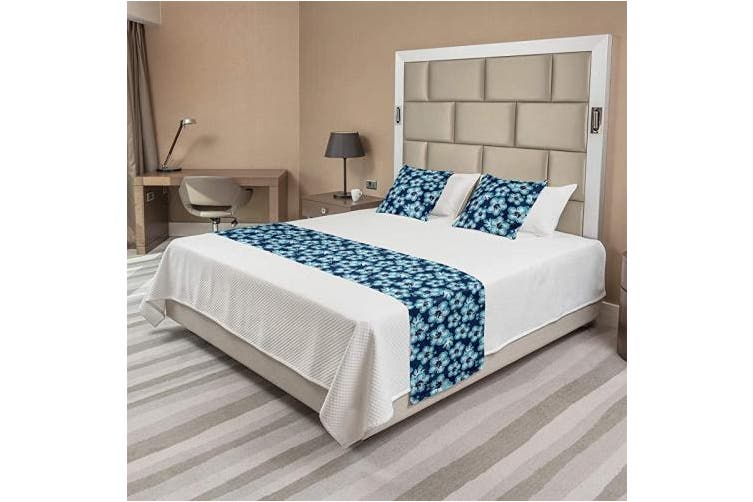(King, Dark Blue) - Ambesonne Navy Bed Runner Set, Hibiscus Hawaiian Tropical Island Flowers Petals and Buds Leaves Art Print, Decorative Bedding Scarf and 2 Pillow Shams for Hotels Homes, King, Dark Blue