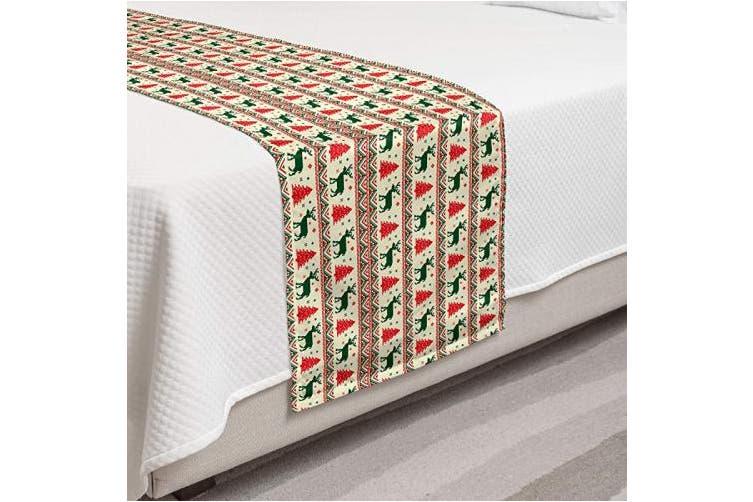 (King, Emerald Scarlet) - Ambesonne Nordic Bed Runner Set, Pixel Art Inspirations Christmas Ornamental December Reindeers Vintage, Decorative Bedding Scarf and 2 Pillow Shams for Hotels Homes, King, Emerald Scarlet