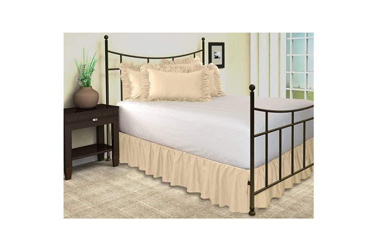 Queen 46cm Drop Stone Ruffled Bed, Queen White Bed Skirt 16 Drop
