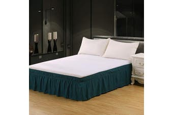 (46cm -Queen/King, Dark Green) - XUANDIAN Queen Size Bed Skirt Ruffled Wrap Around Bed Skirts,46cm Drop