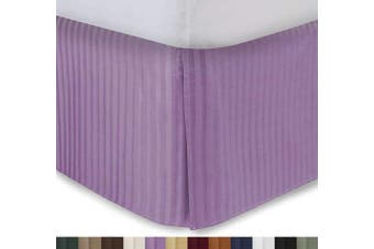 (Queen - 46cm  Drop, Lavender) - Harmony Lane Tailored Bedskirt with 46cm Drop, Queen Size, Lavender Sateen Stripe Bed Skirt with Split Corners (Available in and 10 Colours)