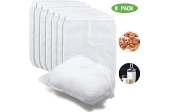 8 Pieces 23cm x 30cm Nut Milk Bags Food Grade Nylon Mesh Filter Bag Reusable Food Strainer Bags for Nut, Soybean, Milk, Cold Brew, Coffee, Juices