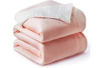 (Queen(230cm  x 230cm ), Dusty Pink) - Bedsure Sherpa Fleece Blanket Queen Size Dusty Pink Plush Blanket Fuzzy Soft Blanket Microfiber