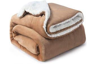 (Throw(130cm  x 150cm ), Taupe) - Bedsure Sherpa Fleece Blanket Throw Size Taupe Plush Throw Blanket Fuzzy Soft Blanket Microfiber