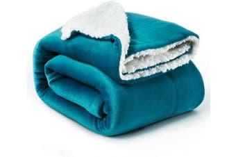 (Twin(150cm  x 200cm ), Teal) - Bedsure Sherpa Fleece Blanket Twin Size Teal Plush Blanket Fuzzy Soft Blanket Microfiber