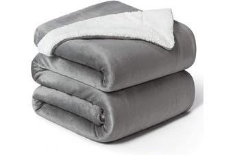 (Queen(230cm  x 230cm ), Grey) - Bedsure Sherpa Fleece Blanket Queen Size Grey Plush Blanket Fuzzy Soft Blanket Microfiber