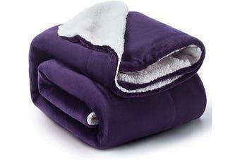 (Throw(130cm  x 150cm ), Purple) - BEDSURE Sherpa Fleece Blanket Throw Size Purple Plush Throw Blanket Fuzzy Soft Blanket Microfiber