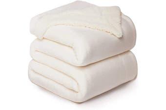 (Queen(230cm  x 230cm ), Off White) - Bedsure Sherpa Fleece Blanket Queen Size Off White Cream Plush Blanket Fuzzy Soft Blanket Microfiber