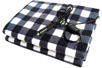 (Black White) - Homeself Electric Car Heating Blanket, 12 Volt Fleece Constant Temperature Anti-Overheat Blanket for SUV Vehicle Truck Boats RV, Winter Cold Weather Travel Camping Use (Black White)