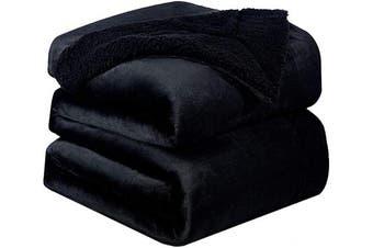 (Queen(230cm  x 230cm ), Black) - Bedsure Sherpa Fleece Blanket Queen Size Black Plush Blanket Fuzzy Soft Blanket Microfiber