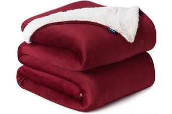 (Queen(230cm  x 230cm ), Red) - Bedsure Sherpa Fleece Blanket Queen Size Red Burgundy Wine Maroon Plush Blanket Fuzzy Soft Blanket Microfiber