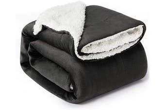 (Throw(130cm  x 150cm ), Dark Grey) - Bedsure Sherpa Fleece Blanket Throw Size Dark Grey Plush Throw Blanket Fuzzy Soft Blanket Microfiber
