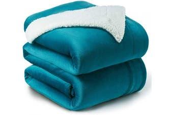 (Queen(230cm  x 230cm ), Teal) - Bedsure Sherpa Fleece Blanket Queen Size Teal Turquoise Aqua Plush Blanket Fuzzy Soft Blanket Microfiber