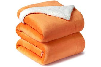 (King(270cm  x 230cm ), Orange) - Bedsure Sherpa Fleece Blanket King Size Orange Fall Colour Autumn Plush Blanket Fuzzy Soft Blanket Microfiber