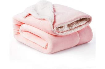 (Throw(100cm  x 130cm ), Pink) - Bedsure Sherpa Fleece Baby Throw Blankets Unisex for Boys, Girls, Kids, Toddler, Infant, Newborn, 100cm x 130cm , Pink - Fuzzy Warm Cosy Soft Blanket, Plush Microfiber Blanket for Crib Stroller Nap
