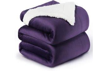 (Queen(230cm  x 230cm ), Purple) - Bedsure Sherpa Fleece Blanket Queen Size Purple Plum Eggplant Plush Blanket Fuzzy Soft Blanket Microfiber