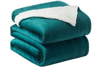 (Queen(230cm  x 230cm ), Emerald Green) - Bedsure Sherpa Fleece Blanket Queen Size Emerald Green Hunter Green Plush Blanket Fuzzy Soft Blanket Microfiber