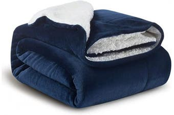(Throw(100cm  x 130cm ), Navy) - Bedsure Sherpa Fleece Baby Throw Blankets Unisex for Boys, Girls, Kids, Toddler, Infant, Newborn, 100cm x 130cm , Navy Blue - Fuzzy Warm Cosy Soft Blanket, Plush Microfiber Blanket for Crib Stroller Nap