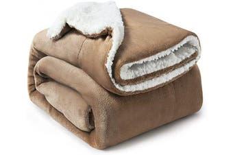 (Twin(150cm  x 200cm ), Camel) - Bedsure Sherpa Fleece Blanket Twin Size Camel Plush Blanket Fuzzy Soft Blanket Microfiber