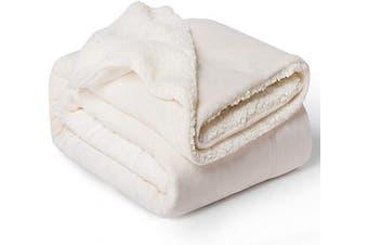 (Twin(150cm  x 200cm ), Off White) - Bedsure Sherpa Fleece Blanket Twin Size Off White Plush Blanket Fuzzy Soft Blanket Microfiber