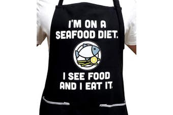 All Prime Outlet - Seafood Diet - Funny Apron -100% Cotton - Universal Size - Adjustable Neck Strap - 2 Pockets