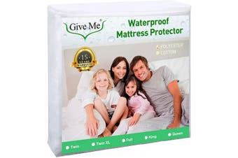 (Twin) - Give Me Twin Size Mattress Protector, 100% Waterproof Mattress Pad Cover - Breathable Smooth Soft Premium Suface Matress Protector, Dust Mite Proof & Hypoallergenic - Fits 36cm Deep