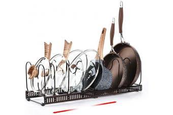 (8) - Caannasweis 8+ Expandable Pan Rack Organiser, Diy Retractable Pot Rack Manager, Length Adjustable Creative Pots And Pans Organiser