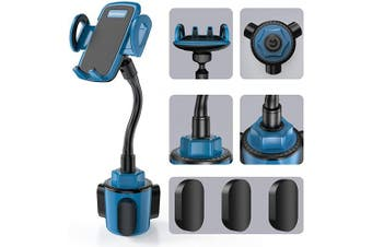 (Blue) - Car Cup Holder Phone Mount, Sopownic Cup Phone Holder for Car Universal Adjustable Gooseneck Car Phone Holder for iPhone 11 Pro/11/X/8/7/6s/ Galaxy S10/S9/Note 10/9/8 GPS and More -Blue