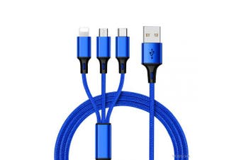 USB Multi Charging Cable Nylon Braided 1.2m(4ft), USB to Lightning/Type C/Micro 3 in 1 Universal Charger for All in Market Smartphones and Tablets (Blue)