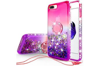 (Purple) - SOGA Rhinestone Liquid Float Quicksand Cover Cute Phone Case Compatible for Apple iPhone 8 Plus/Phone 7 Plus Case with Metal Diamond Ring Stand for Magnetic Car Mounts and Lanyard - Pink on Purple