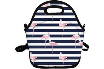 (Blue Flamingo) - Portable Insulated Lunch Bags for Women Men Kids Girls, Blue Flamingo Soft Neoprene Lunch Tote Bag, Lightweight Reusable Lunch Box for Work/Office/School/Outdoor/Travel/Picnic and Mom bag