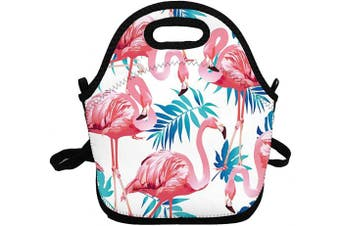 (Flamingo in Summer) - Portable Insulated Lunch Bags for Women Men Kids Girls, Flamingo in Summer Soft Neoprene Lunch Tote Bag, Lightweight Reusable Lunch Box for Work/Office/School/Outdoor/Travel/Picnic and Mom bag