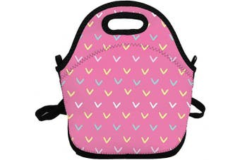 (Pink Arrow) - Portable Insulated Lunch Bags for Women Men Kids Girls, Pink Arrow Soft Neoprene Lunch Tote Bag, Lightweight Reusable Lunch Box for Work/Office/School/Outdoor/Travel/Picnic and Mom bag