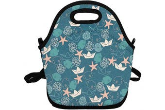 (Cyan Blue Sea Bottom) - Portable Insulated Lunch Bags for Women Men Kids Girls, Cyan Blue Sea Bottom Soft Neoprene Lunch Tote Bag, Lightweight Reusable Lunch Box for Work/Office/School/Outdoor/Travel/Picnic and Mom bag