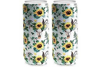 Neoprene Slim Can Coozies – 350ml slim can koozies, Sunflower Can cooler, White Claw Sleeves – Set of 2 (SFW)