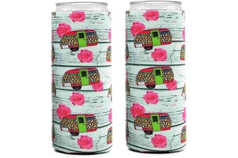Neoprene Slim Can Coozies – 350ml slim can koozies, Camping Can Cooler, White Claw Sleeves – Set of 2 (CPW)