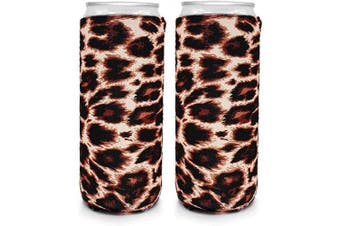 Neoprene Slim Can Coozies – 350ml slim can koozies, White Claw Sleeves – Set of 2 (Leopard)