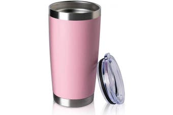 (1, Pink) - COMOOO 590ml Double Wall Vacuum Insulated Travel Mug, Stainless Steel Tumbler with Lid, Durable Powder Coated Insulated Coffee Cup for Cold & Hot Drinks