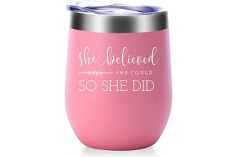 (Light Pink) - She Believed She Could so She Did Mug.Graduation,Congratulations,Inspirational,Christmas,Birthday Gifts for Women,Girls,Daughter,Best Friend Wine Tumbler(300ml Light Pink)