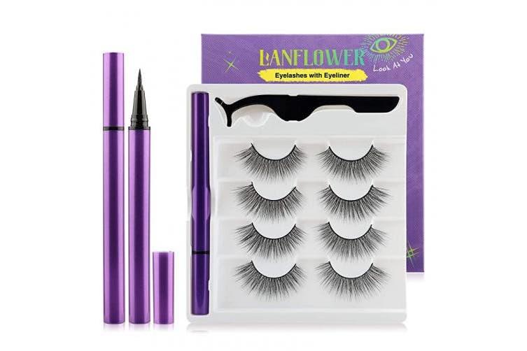 Eyeliner with Eyelashes Long Glamour Faux Mink Lashes Waterproof Liquid Self-adhesive Eyeliner