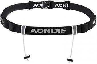 (Black) - Azarxis Triathlon Race Number Belt Running Bib Holder for Marathon Cycling Elastic Adjustable Multifunction with 6 Gel Loops