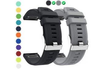 (P03 Black&Gray) - CharmingElf Compatible with Garmin Fenix 5 Band 22mm Wacth Band for Fenix 5/Fenix 5 Plus/Fenix 6/Fenix 6 Pro/Forerunner 935/Forerunner 945/Quatix 5/Approach S60