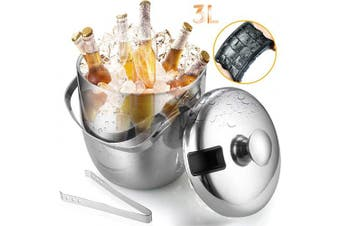 GIKPAL Stainless Steel Ice Bucket with Ice Tong and Ice Cube Tray, 3L, Sliver
