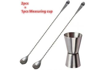 Bartender Stir Set,2pcs 30cm Bar Long Stirring Mixing Swizzle Stick Cocktail Spoons Stirrer and 15ml/30ml Dual Spirit Measure Cup for Party Wine Cocktail Drink Shaker Jigger ,Stainless Steel Mixin
