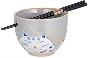 (Gray) - Cute Kitty Cat Japanese Ramen Udon Noodle Bowl with Chopsticks Gift Set 13cm Diameter (Grey)
