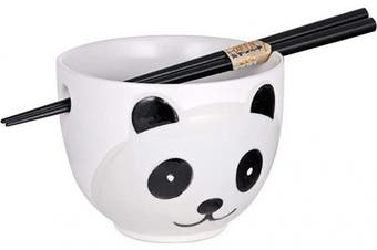 (White Panda) - Cute Panda Design Japanese Ramen Udon Noodle Bowl with Chopsticks Gift Set 13cm Diameter (White Panda)
