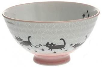 123kotobukijapanstore Japanese Grey Crackle Pink Cats Rice Bowl Set Includes 2 Bowls #130-519